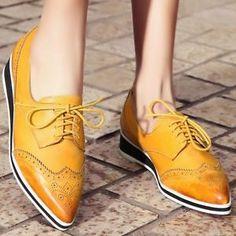 Women's Lace Up Brogue Ankle Boots Point Toe Ballet Flats Oxfords Vintage Shoes