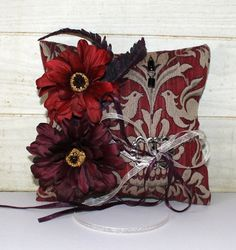 Wedding Ring Pillow  Rustic Chic  Burgundy  by ForeverDenimandLace, $40.00