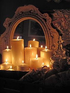 candles always look much better clustered and in front of a mirror...