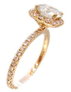 18k rose gold diamond engagement ring prong set art deco by KNRINC