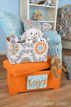 Don't let loads of mismatched storage keep you from whipping up a dream of a tot spot. Round up those random boxes, and cover them with coordinating duck cloth. Now you can stow in style!