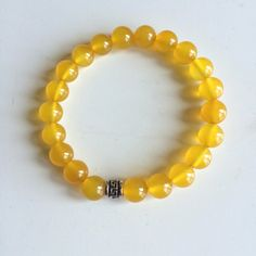 Genuine Yellow Agate w/ a Sterling Silver Charm Bracelet ~ Joy & Regeneration