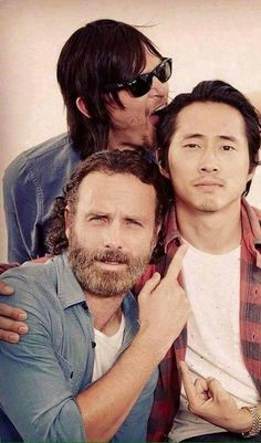 Norman Reedus Andrew Lincoln and Steven Yeun
