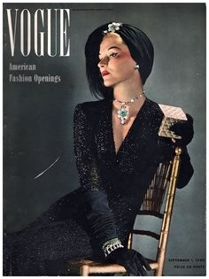 Lisa Fonssagrives in beaded evening dress by Sophie Gimbel, Vogue, Sept.1, 1940 Photo Horst P.Horst