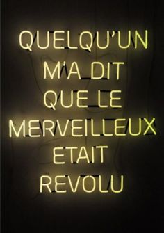'Quelqu'un m'a dit que le merveilleux était revolu' (French for 'Someone told me that wonderful is gone') Neon, 2009 by artist Mehdi-Georges Lahlou