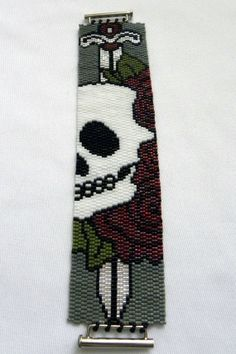 Fierce Skull with Roses and Dagger Seed Bead Peyote Stitch Bracelet