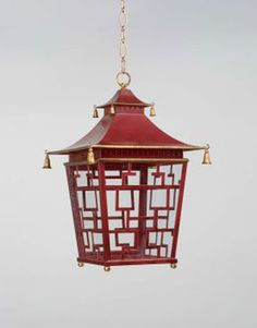 """Metal Chinese Fretwork Lantern, 13"""" wide x 20"""" high. It holds two lights and is available in Red and Green. To the trade. VAUGHAN DESIGNS: 212-319-7070; vaughandesigns.com."""