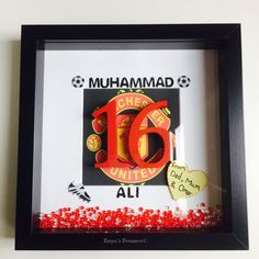 Manchester UTD 16th birthday bespoke frame by TanyasTreasuresx  https://www.djpeter.co.za  https://www.birthdays.durban