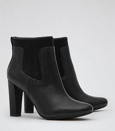 Womens Black Rib Platform Boots - Reiss Elisee