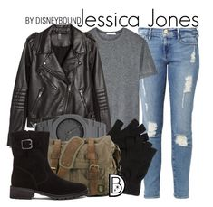 """Jessica Jones"" by leslieakay ❤ liked on Polyvore featuring Frame Denim, T By Alexander Wang, H&M, CC, Elyse Walker Los Angeles, disney, marvel and disneybound"