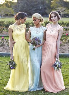 A-Line/Princess Scoop Neck Floor-Length Lace Chiffon Zipper Up Covered Button Cap Straps Sleeveless No Daffodil Sky Blue Pearl Pink Spring Summer Fall General Pink Yellow Blue Bridesmaid Dress