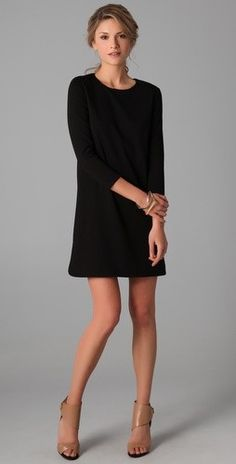 Black three quarter sleeve shift dress...perfect with suede booties.