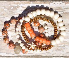 coral + bone bracelets