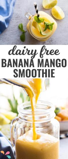 Are you looking for a healthy recipe to feed your kids in the morning? This banana mango smoothie is not only delicious, but also 100% fruit, without yogurt and vegan!