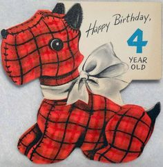 #161 50s Calico Scottie Dog, Vintage DIE-CUT JUVENILE Greeting Card