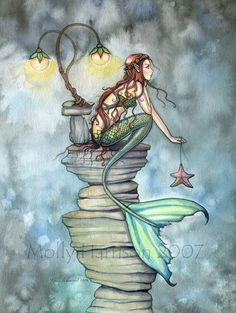 Mermaid Fantasy Watercolor Fine Art Print by Molly Harrison 'The 'Mermaid's Perch' 9 x 12 Giclee. robmolily on etsy.incredible...Can you tell I like it a lot?!