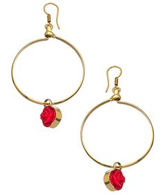 Kesha Rose by Charles Albert Red Rose Hoop Earrings - Max & Chloe