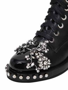 30MM SWAROVSKI LEATHER ANKLE BOOTS