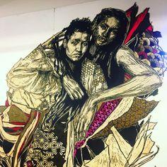 Alixa et Naima by @swoonhq #swoonhq   #streetart #graffiti #graffitiwall #wall #wallporn #wallpornart #streetphoto #urbanwalls #graffart #collage #instagraff  Bd Bessieres #paris