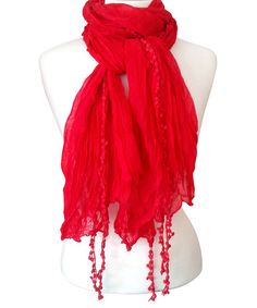 Look at this Red Sheer Fringe Scarf on #zulily today!