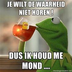 Je wilt de waarheid niet horen !  Dus ik houd me mond .... | Kermit The Frog Drinking Tea