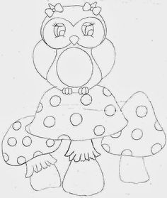 cute girly owl drawing could be used as a template