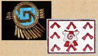Pic 18: Spiralling stepped-fret design ('xicalcoliuhqui') on shield-motif jewellery (L) and cut shell motif, rug design; Codex Magliabecchiano folio 3 (R)