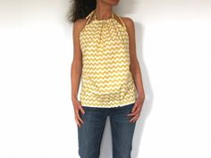 Patron de couture à télécharger - Top femme chevron jaune Downloadable pattern - Backless top