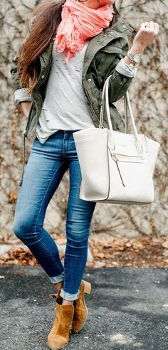 COMFY LAYERS - Ripped Tee, Old Navy Jacket, J.Crew Scarf, Report Booties, Calvin Klein Bag / Robyn Vilate