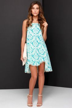 O'Neill Mary Dress - Turquoise Dress - Print Dress - $44.00
