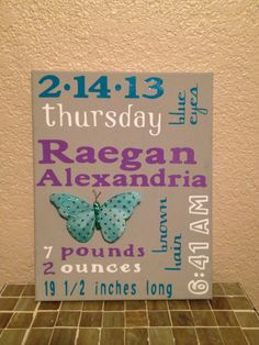 Made by Novell Designs. Baby girl birth announcement wooden block purple gray teal nursery