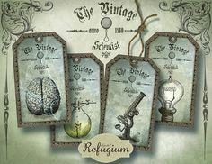 Steampunk Tags the vintage scientist Digital by digitalRefugium