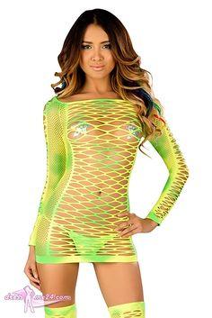 Besuche uns gern auch auf dressme24.com ;-) Sexy GoGo Netzkleid Lime Sherby - Figurbetontes Stretch Netzkleid in strahlendem UV aktivem grün/neon gelb Mix. Leuchtet im UV Schwarzlicht! Einheitsgröße passend für Gr.34-38.  #Gogooutfits, #Dancewear, #Minikleider