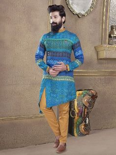 Printed blue color kurta suit - G3-MKS0738 | G3fashion.com Mens Indian Wear, Indian Groom Wear, Indian Men Fashion, Men's Fashion, Wedding Kurta For Men, Wedding Dresses Men Indian, Wedding Dress Men, Pakistani Kurta Designs, Mens Kurta Designs