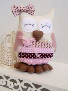 Owl Sewing, Sewing Toys, Sewing Crafts, Sewing Projects, Projects To Try, Owl Crafts, Diy And Crafts, Crafts For Kids, Owl Fabric