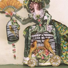 Marie Antoinette Paper Dolls Printable | French Peacock Lady With Bird Cage Marie Antoinette Paper Doll Vintage ...