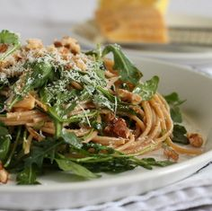[whole wheat] Pasta w/ Arugula, Lemon, & Walnuts