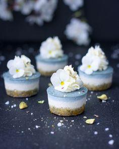 Ice Blue Lemon Cheesecake Bites Raw, vegan, gluten free, refined sugar free with a sweet coconut cream icing