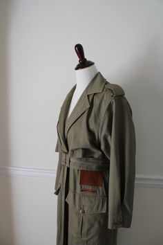Vintage Trench Coat Army Green Ankle Length Women Gift for Her - pinned by pin4etsy.com