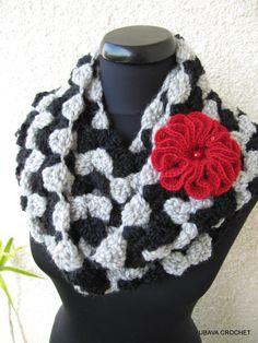 Crochet Infinity Cowl Tutorial Pattern, Grey & Black Infinity Cowl Scarf Unique Crochet Pattern, Lyubava Design Crochet Pattern number 71, via Etsy.