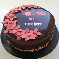 Write Name On Chocolate Birthday CakeFlower Decorated Cake With NameChocolate For PartyPrint Wishes