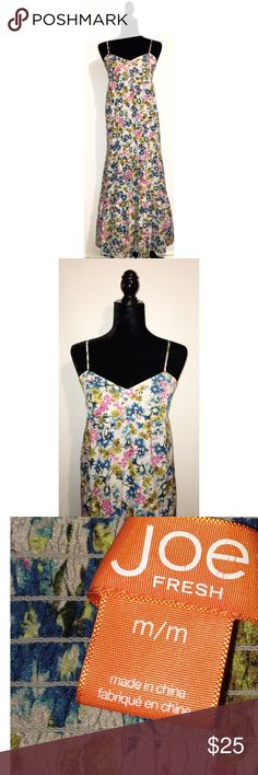 """Joe Fresh FLORAL TIERED MAXI SPAGHETTI STRAP            BUST= 16 1/2""""  LENGTH= 49""""                                                                                 ✅Prices are negotiable: Please be considerate due to Posh fees. ✅No holds/No Trades ✅Please use offer button ✅No 🅿️🅿️ Joe Fresh Dresses Maxi"""
