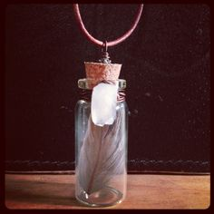 Feather and Crystal Necklace -Specimen Bottle Necklace - Feather and Raw Quartz, Wire Wrap, Brown Leather Cord, Woodland Amulet.