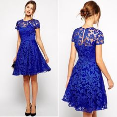 Blue Lace Dress Royal Blue Lace Dress! Has side Zipper and is lined underneath! Fits true to size Same Day Shipping!! Dresses