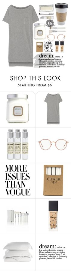 """""""Sleep"""" by jaimeowen on Polyvore featuring Laura Mercier, T By Alexander Wang, Le Labo, OUTRAGE, Urbanears, Linda Farrow, Printable Wisdom, Jayson Home, NARS Cosmetics and Impressions"""