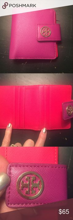Tory Burch wallet Tory Burch Robinson mini wallet with 4 credit card slots, magenta on the outside and red on the inside with gold accents, like new condition. Tory Burch Bags Wallets