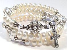 Lovely Vintage Style Freshwater Pearl & Swarovsky Crystal Rosary Bracelet