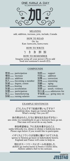 Learn one Kanji a day with infographic: 加 (ka)