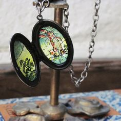 Reversible Metal Locket Carved Flowers & The Velveteen Rabbit Hand Painted on the Inside, by PaintedFancy, $100.00