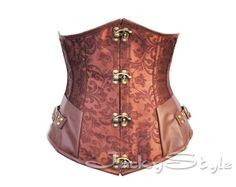 Steampunk Underbust Corset Brown Bustiers Steel Boned Corset Brocade Victorian Inspired Underbust  Corset with Modesty Panels and Thong